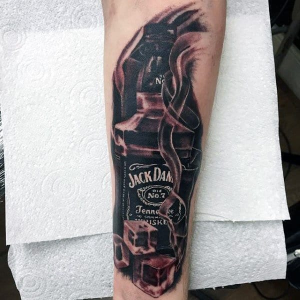 Mens Ice Cubes With Jack Daniels Inner Forearm Tattoos
