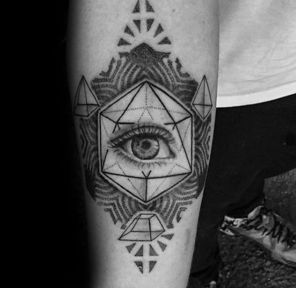 Mens Icosahedron Tattoo Design Ideas