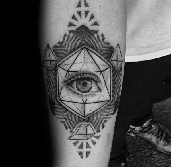 Mens Icosahedron Tattoo Design Ideas