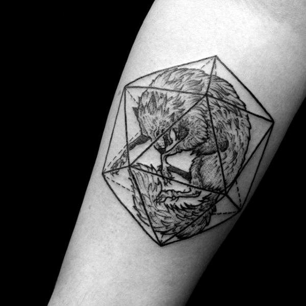 Mens Icosahedron Tattoo Design Inspiration