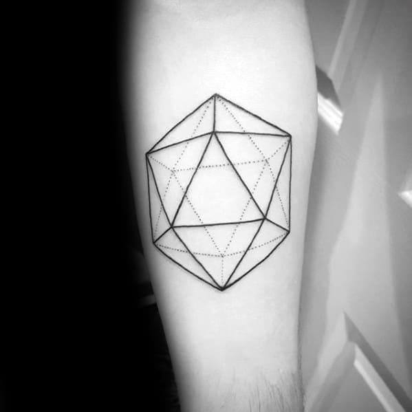Mens Icosahedron Tattoo Ideas