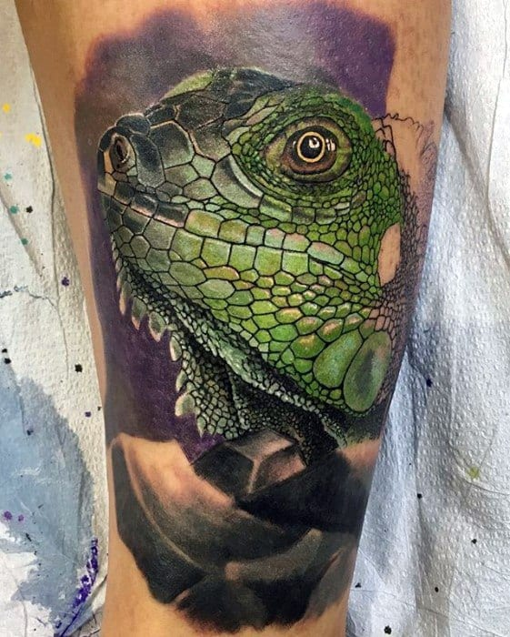 Mens Iguana Tattoo Design Ideas