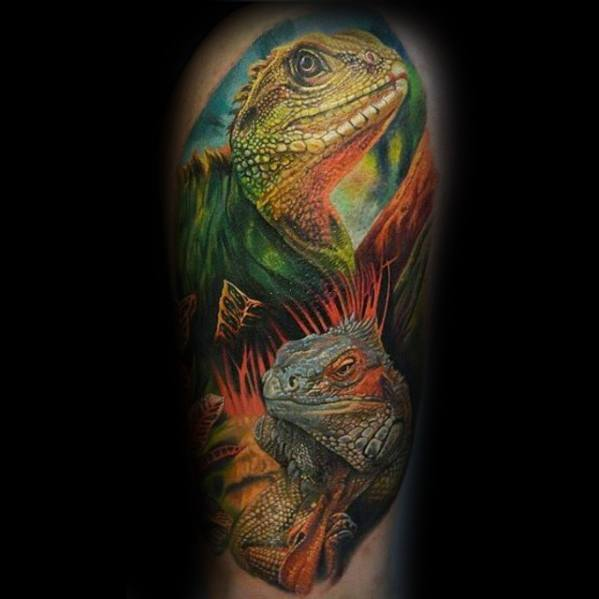 Mens Iguana Tattoo Design Inspiration