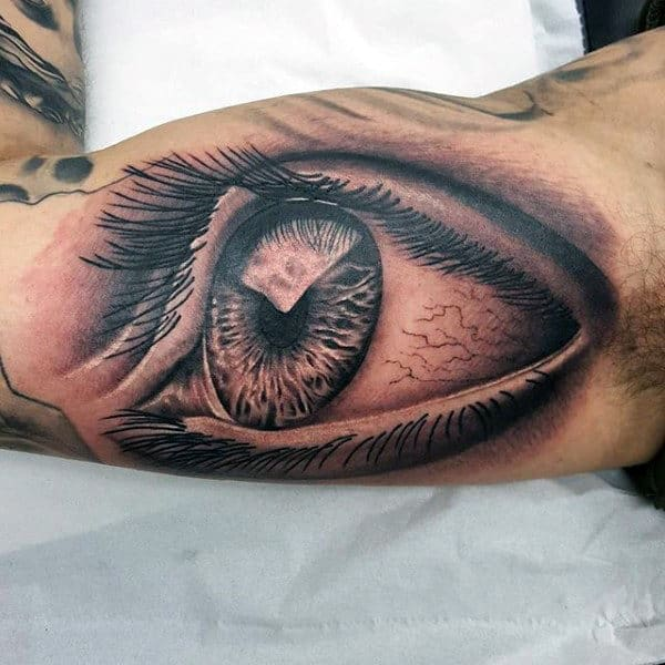 Mens Iiner Biceps Large Eye Tattoo
