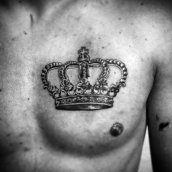 Mens Imperial Crown Tattoo On Chest