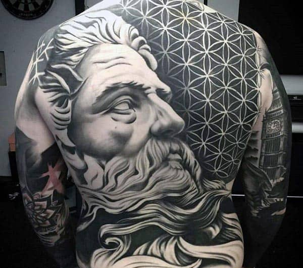 Men's Incredible 3D Back Tattoo Inspiration