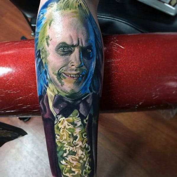 Mens Incredible Beetlejuice Themed Full Leg Sleeve Tattoos