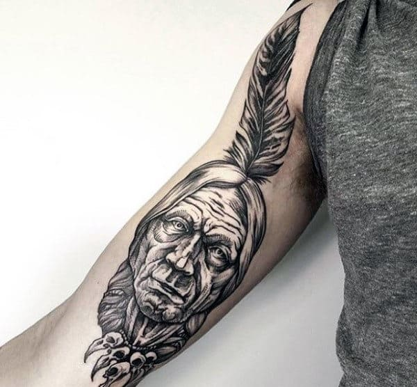 Mens Indian Head With Feather Tattoo On Inner Arm