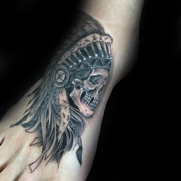 Mens Indian Skull Foot Tattoo Designs