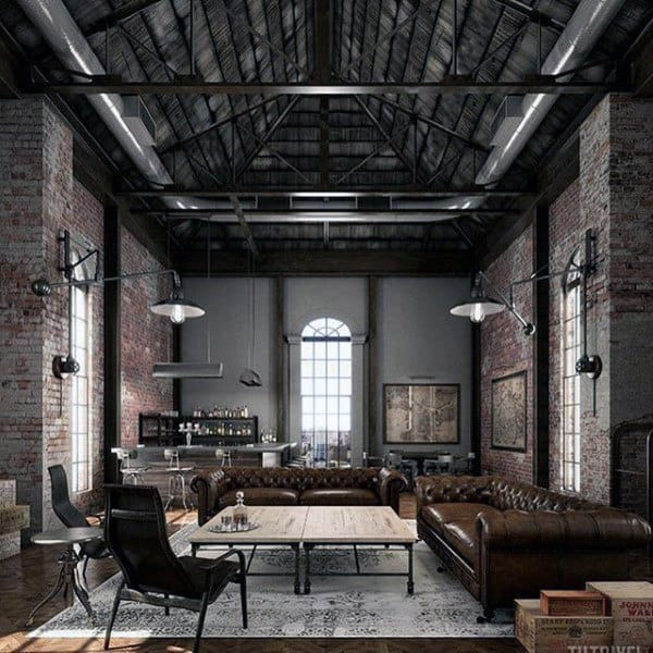 Mens Industrial Loft Bachelor Pad Living Room Ideas