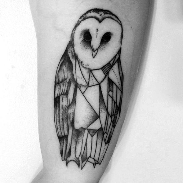 Mens Inner Arm Bicep Barn Owl Geometric Tattoo Ideas