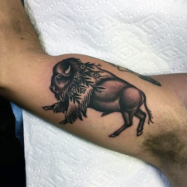 Mens Inner Arm Bicep Bison Tattoo