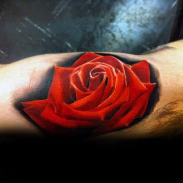 Mens Inner Arm Bicep Black Ink Background Red Realistic Rose Flower Tattoo