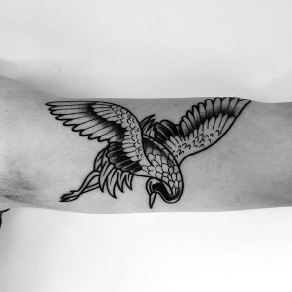 Mens Inner Arm Bicep Crane Retro Old School Traditional Tattoos