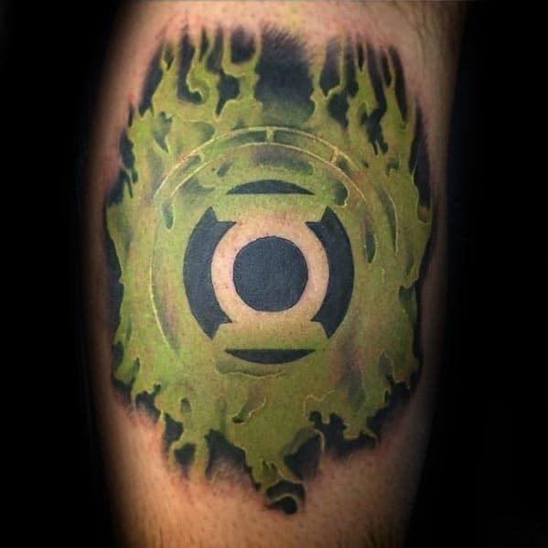 Mens Inner Arm Bicep Green Lantern Negative Space Logo Tattoo