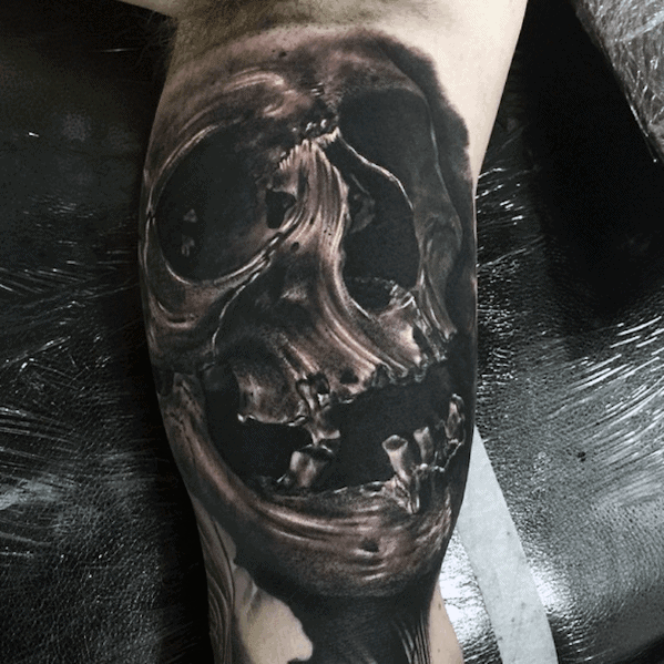 Mens Inner Arm Bicep Realistic Skull Tattoo Designs