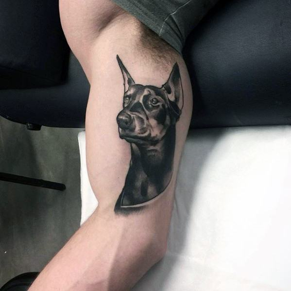 Mens Inner Arm Bicep Tattoo Doberman Design