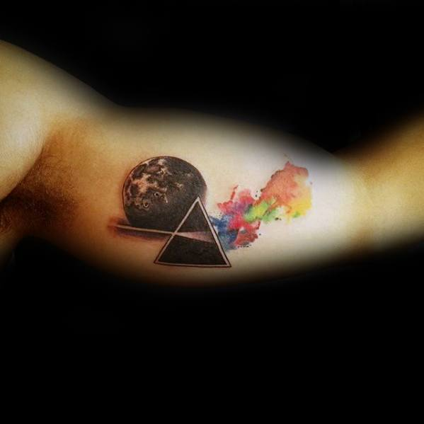 Mens Inner Arm Bicep Tattoo Ideas With Dark Side Of The Moon Pink Floyd Design