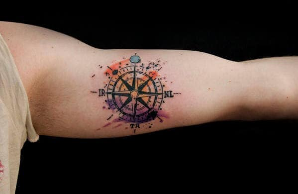 Mens Inner Arm Bicep Tattoo Watercolor Compass Design Ideas