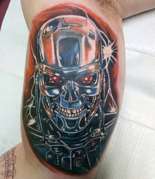 Mens Inner Arm Bicep Terminator Tattoos