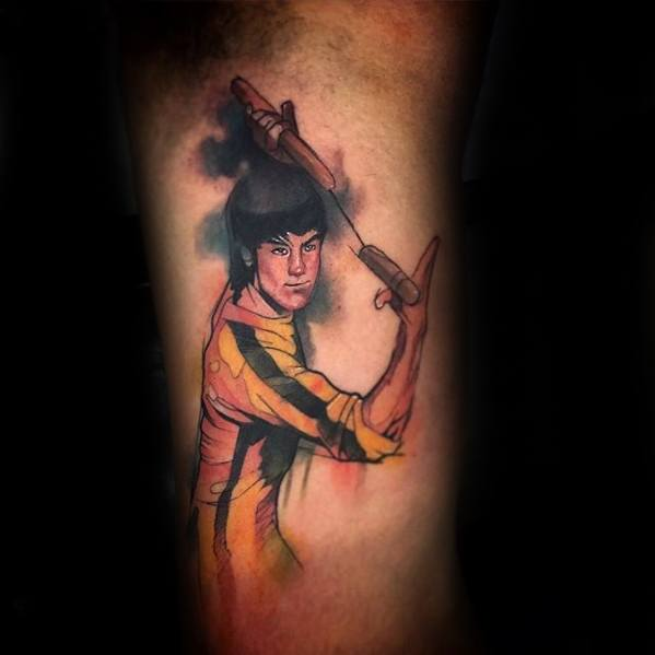 Mens Inner Arm Bicep Watercolor Tattoo Ideas With Bruce Lee Design