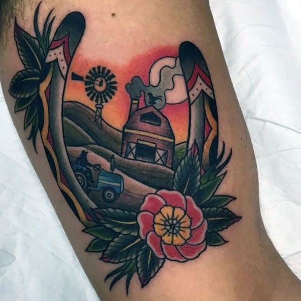 Mens Inner Arm Bicep Windmill On Farm With Horseshoe Tattoo