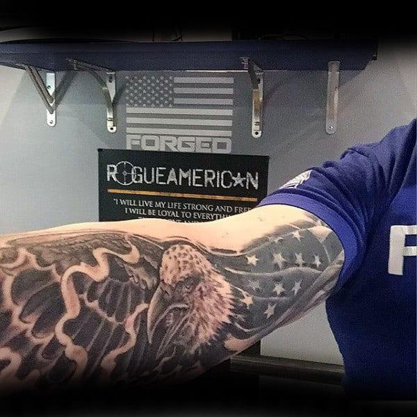 Mens Inner Arm Flag Eagle Patriotic Tattoo Ideas