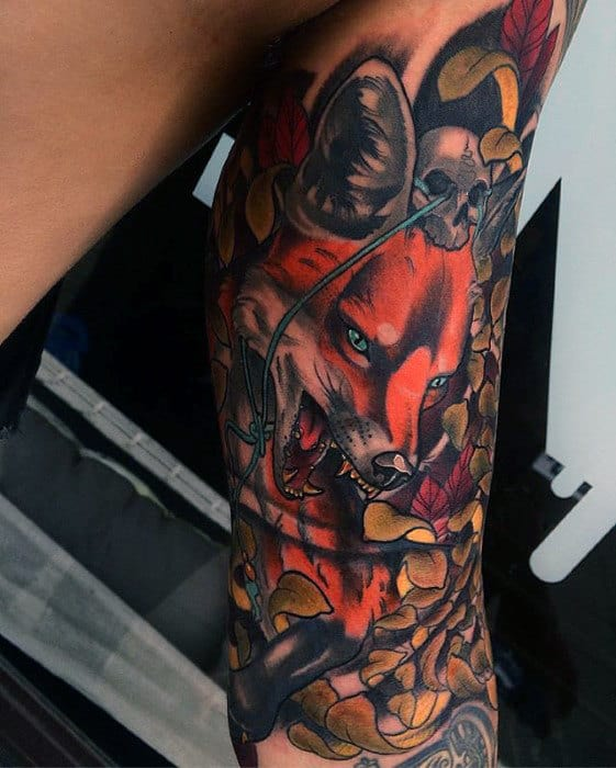 Mens Inner Arm Kitsune Fox Tattoo Inspiration