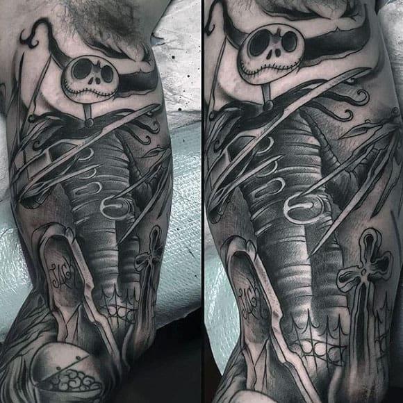 Mens Inner Arm Sleeve Night Before Christmas Jack Skeelington Tattoo