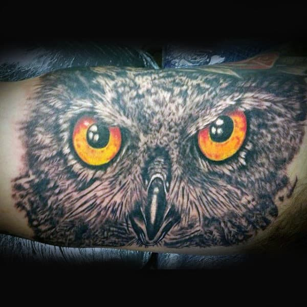 Mens Inner Bicep Amber Eyed Owl Tattoo
