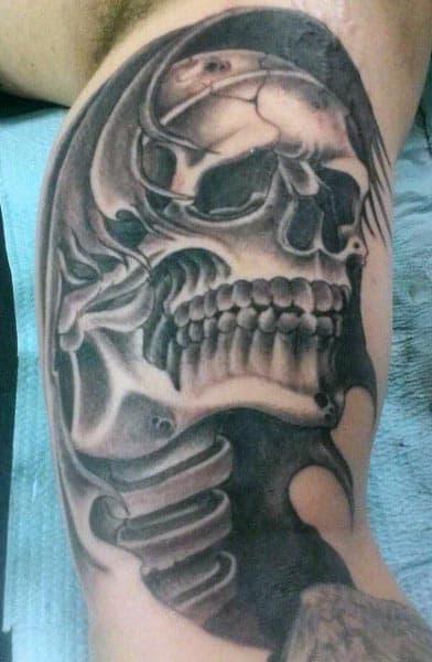 Skull Bones Men's Inner Bicep Tattoo Ideas