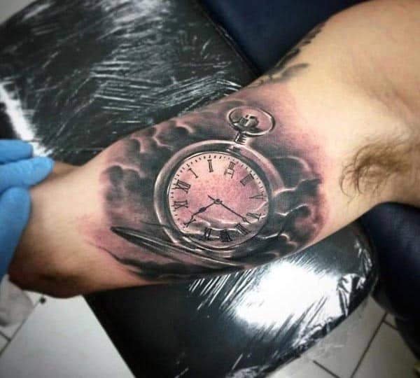 Clock Men's Inner Bicep Tattoos