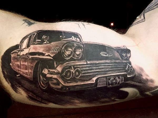 Mens Inner Biceps 3D Black Car Tattoo