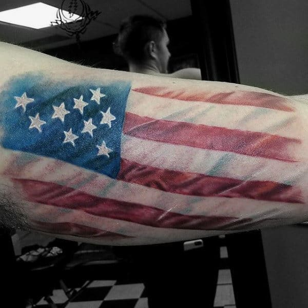Mens Inner Biceps American Flag In Breeze Tattoo