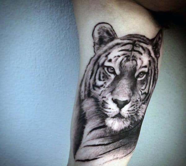 Mens Inner Biceps Bengal Tiger Tattoo