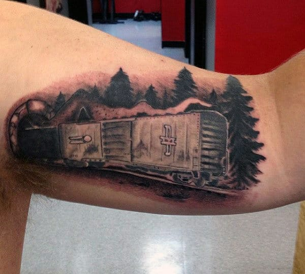 Mens Inner Biceps Goods Train Tunne Pine Tree Tattoo