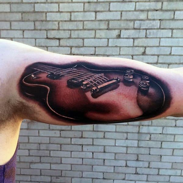 Mens Inner Biceps Guitar Tattoo