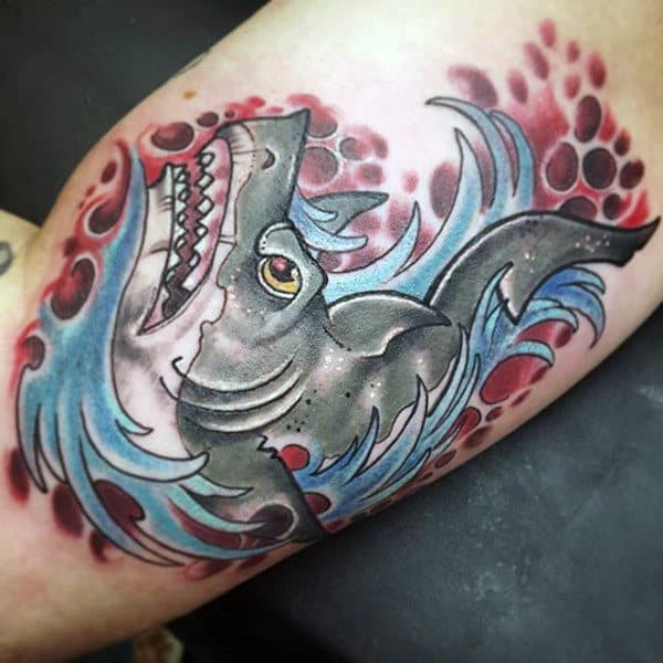 Mens Inner Biceps Shark In Water Tattoo