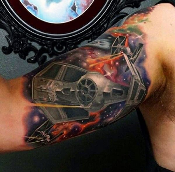 Mens Inner Biceps Space Craft Tattoo