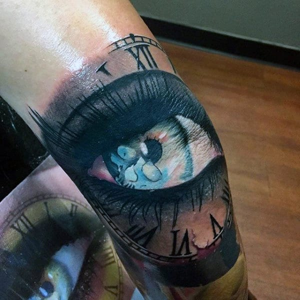 Mens Inner Elbow Tattoo Of Eye And Clock