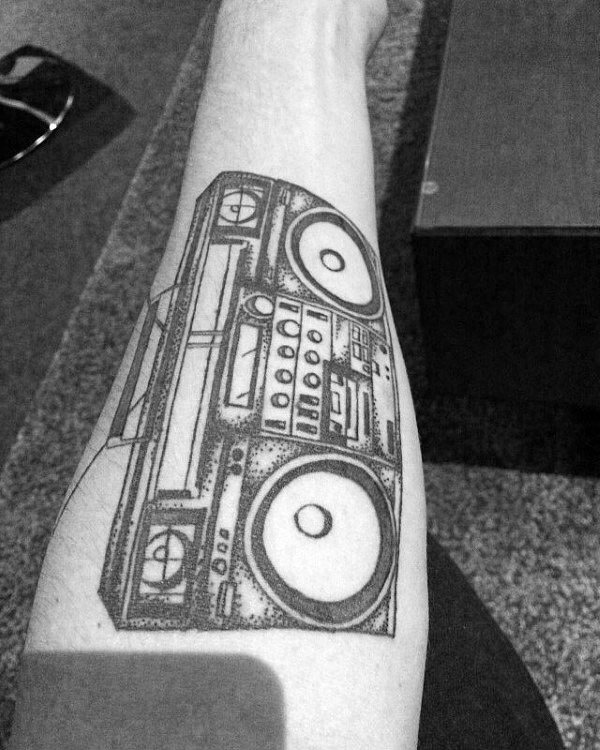 Mens Inner Forearm Boombox Black Ink Tattoo Deisgns