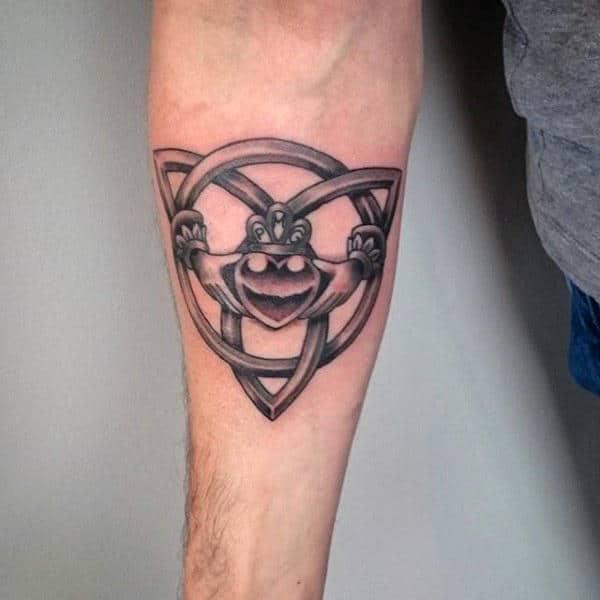 Mens Inner Forearm Claddagh Tattoo Design Inspiration
