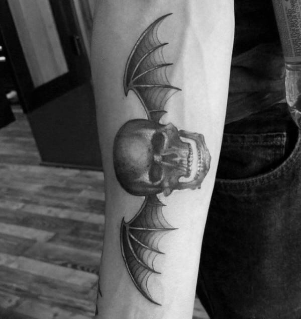 Mens Inner Forearm Cool Deathbat Tattoo Design Ideas