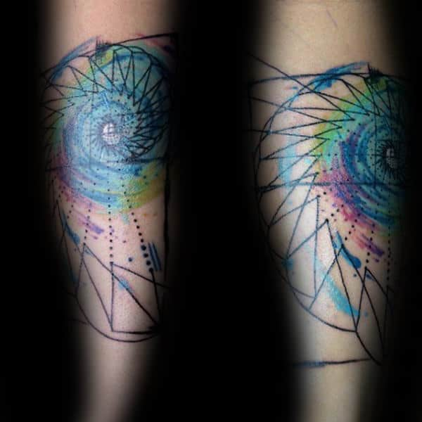 Mens Inner Forearm Fibonacci Spiral Colorful Tattoo Ideas