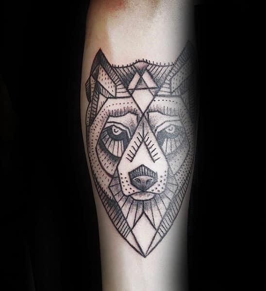 Mens Inner Forearm Geometric Wolf Linework Tattoo Design Inspiration