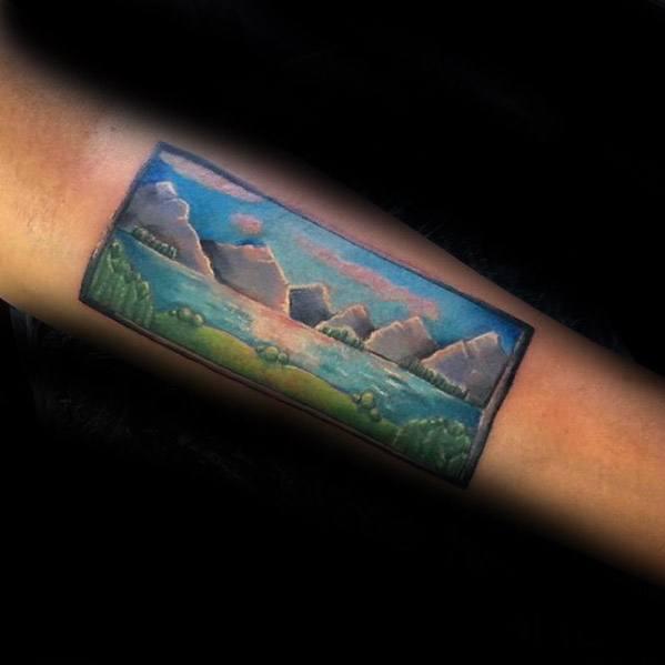 Mens Inner Forearm Lake Tattoo Design Inspiration
