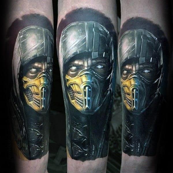 Mens Inner Forearm Mortal Kombat Realistic Tattoo Designs