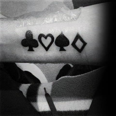 Mens Inner Forearm Playing Card Suits Black Ink Tattoo
