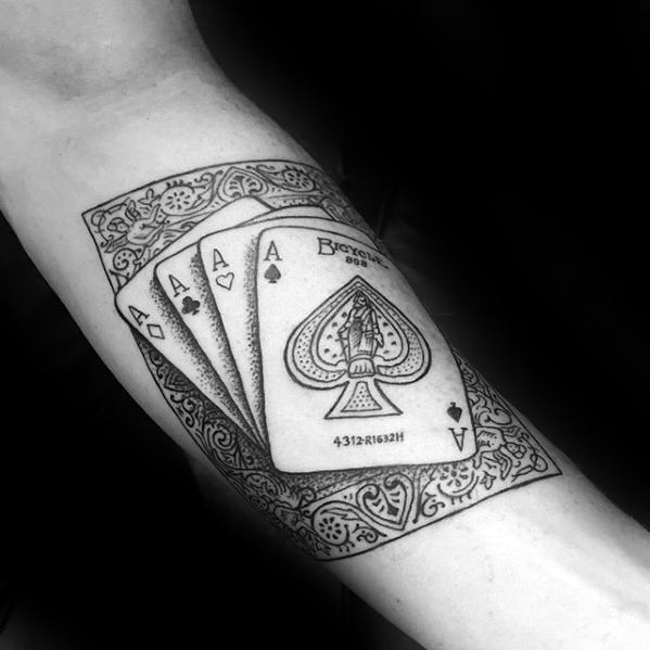Mens Inner Forearm Playing Cards Ornate Tattoo With Magician Design