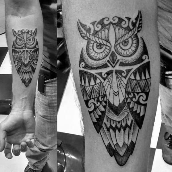 Mens Inner Forearm Polynesian Tribal Owl Tattoo Design Ideas